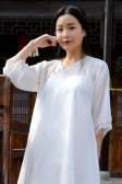 9985白色  中国风禅意禅服女汉服长款茶服两件套(不配裤子)大码文艺宽松裙
