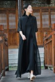 9987白色  中式夏装改良中国风复古禅服长款大码假两件套短袖连衣裙